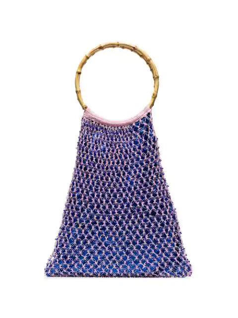 My Beachy Side Aphrodite Beaded Crochet Tote Bag In Pink