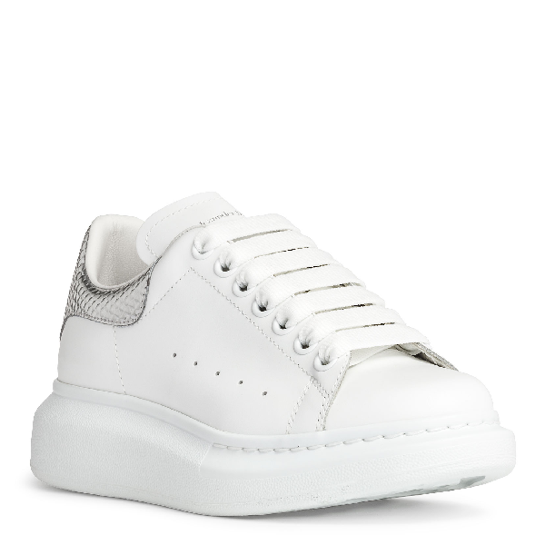 Alexander Mcqueen 40Mm Leather & Metallic Leather Sneakers In White