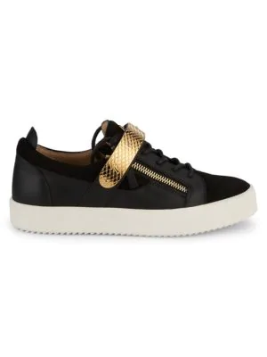 Giuseppe Zanotti Low-Top Leather Sneakers In Black White