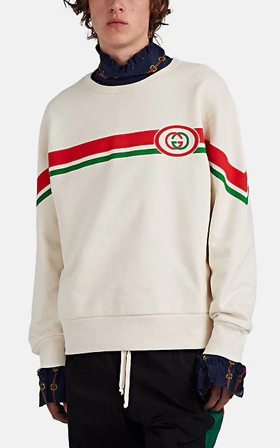 Gucci Web Striped Gg Print Cotton Sweatshirt In Ivorybone