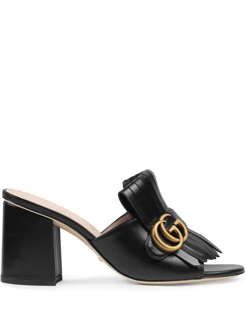 Gucci Leather Mid-Heel Slide With Double G In Black