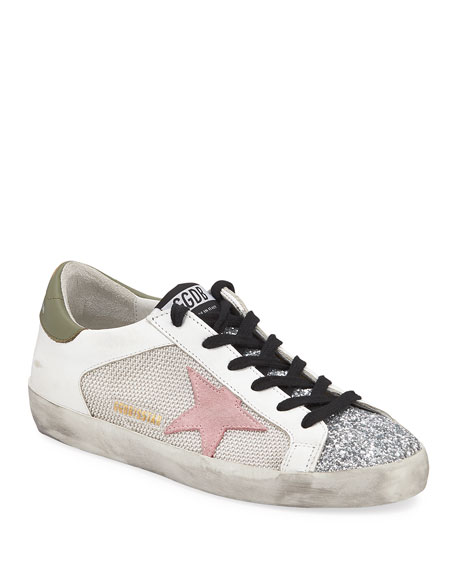 Golden Goose Superstar Low-Top Glittered Leather Sneakers In White