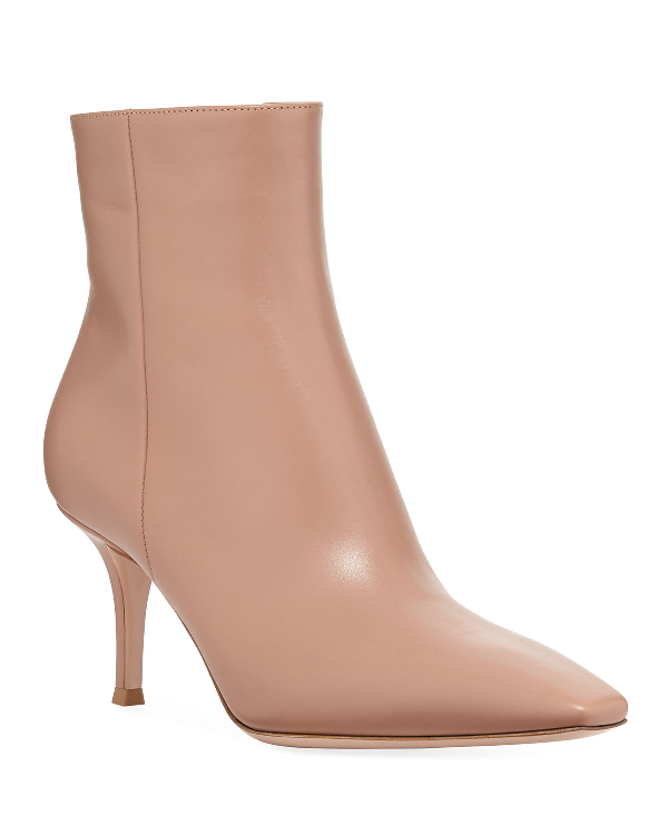067a5652d9c Leather Mid-Heel Booties in Light Brown