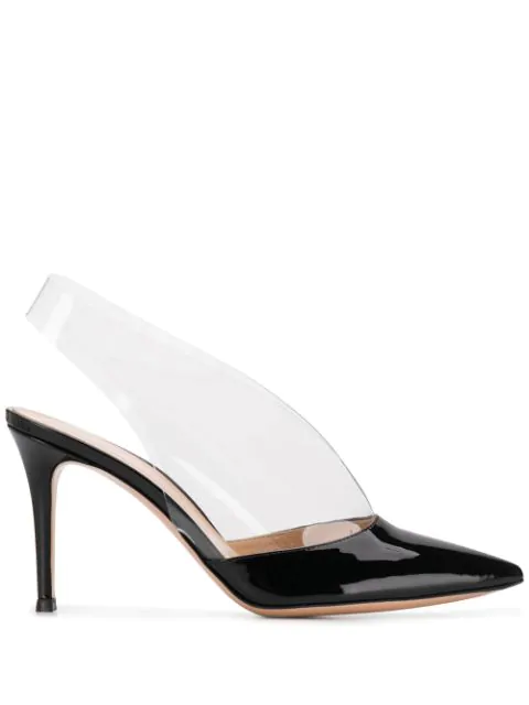 Gianvito Rossi Clear-Strap Patent Illusion Pumps In Black