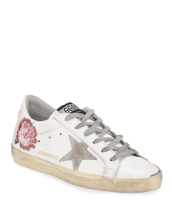 Golden Goose Superstar Peony Leather Low-Top Sneakers In White/Pink