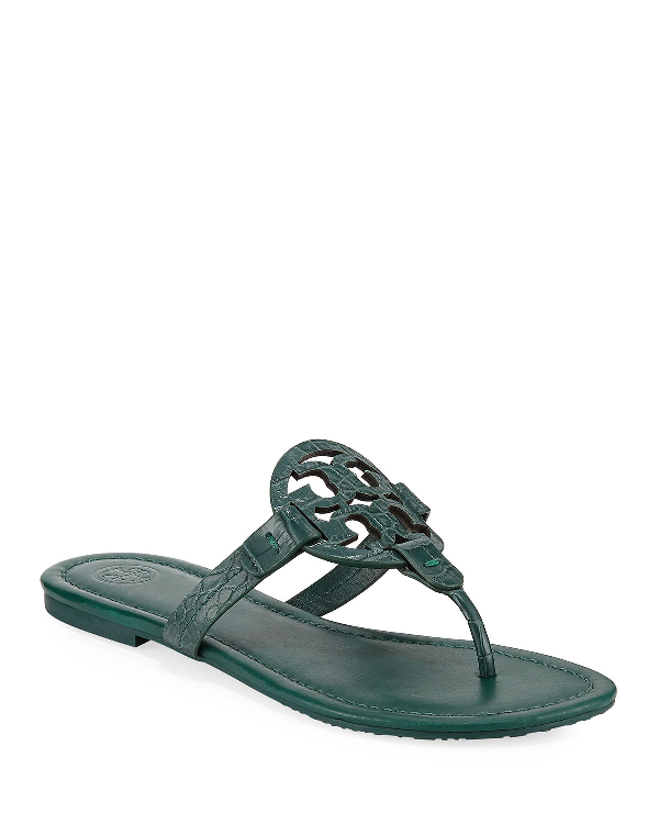 fde557ede296 Tory Burch Miller Embossed Leather Flat Sandals In Norwood