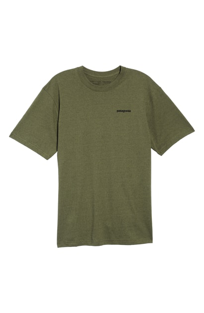 Patagonia Fitz Roy Smallmouth Responsibili-Tee Regular Fit T-Shirt In Greenie Green