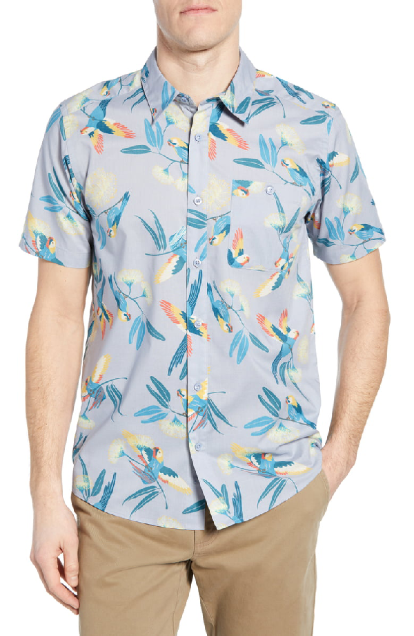 Patagonia Go To Regular Fit Short Sleeve Shirt In Parrots Ghost Purple