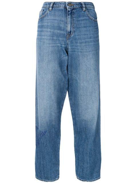 Emporio Armani Side Logo Loose Jeans In Blue