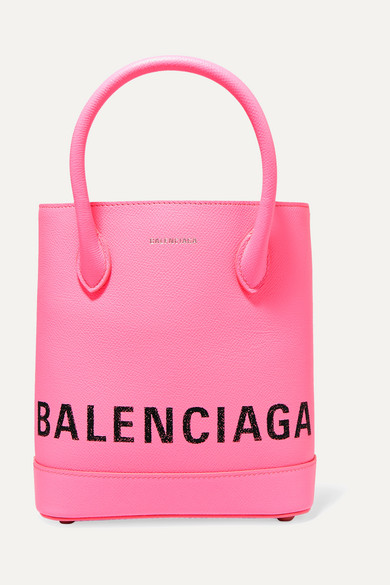 Balenciaga Ville Xxs Aj Printed Textured-Leather Tote In Acid Pink
