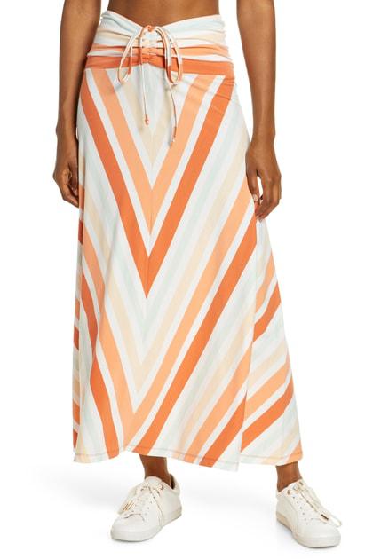 Patagonia Kamala Maxi Skirt In Water Ribbons/ Orange