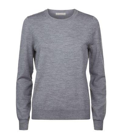 Burberry Pullover Aus Merinowolle Mit Karodetail In Grey