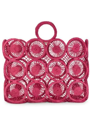 Mar Y Sol Rectangle Fortaleza Straw Tote In Pink