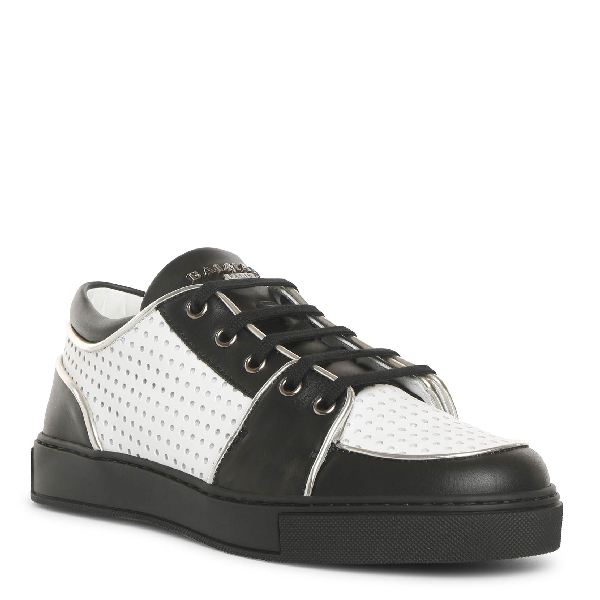 Balmain Black And White Perforated Leather Sneakers In Black/White