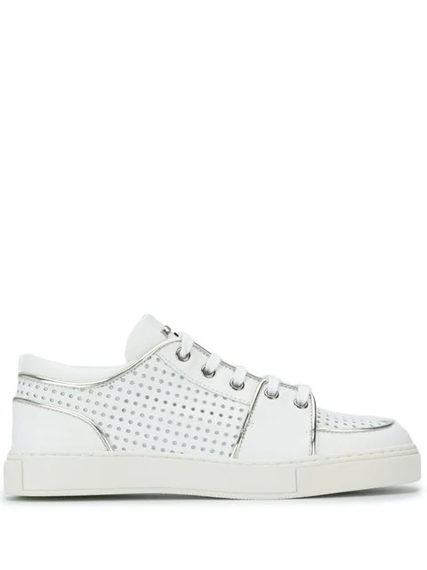 Balmain White Perforated Leather Sneakers