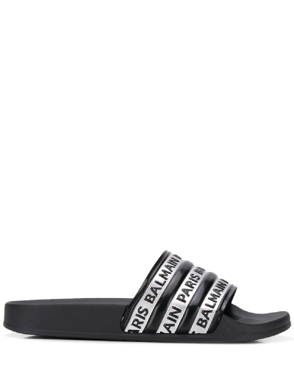 Balmain Black And Silver Logo Rubber Slides