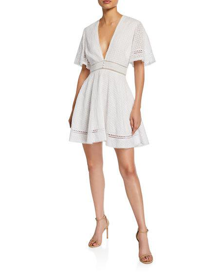 Jonathan Simkhai Eyelet Embroidered Fit-&-Flare Dress In White