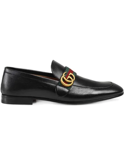 Gucci Men's Donnie Web Leather Loafers In 1060