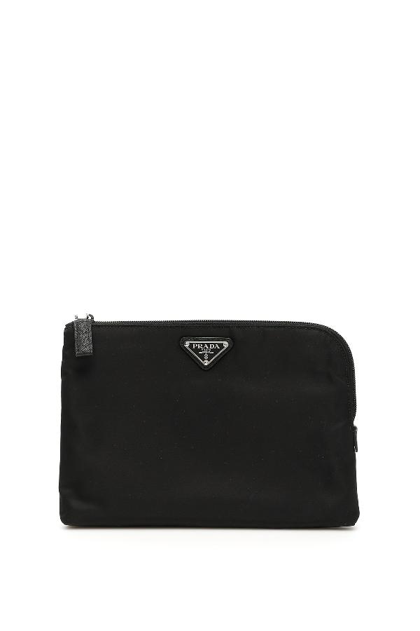 cc3dcd312a09 Prada Zipped Logo Clutch Bag In Nero   ModeSens