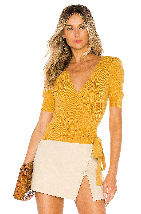 02a702134c4 Majorelle Ginette Wrap Sweater In Yellow
