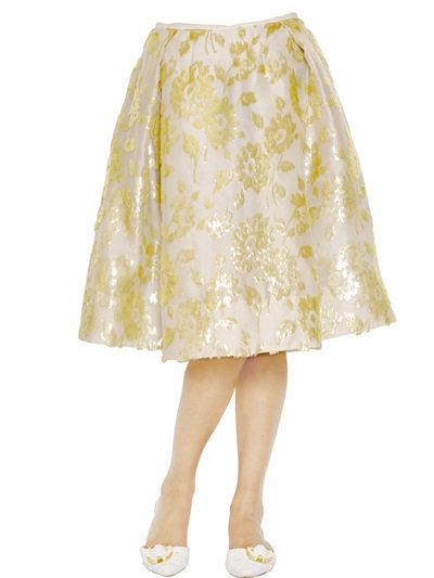 Rochas Floral Embroidered Silk Nigel Skirt In Ivory/Gold