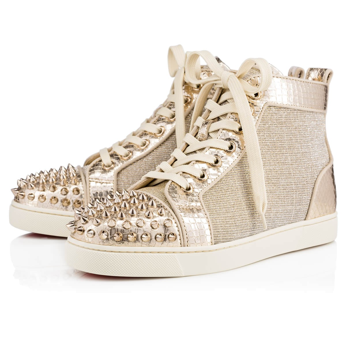 ec77a8ac235b Christian Louboutin Lou Spikes Metallic High-Top Sneakers In Version Gold