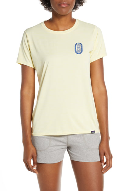 Patagonia Capilene Daily Graphic Tee In Paper Peaks/ Resin Yellow