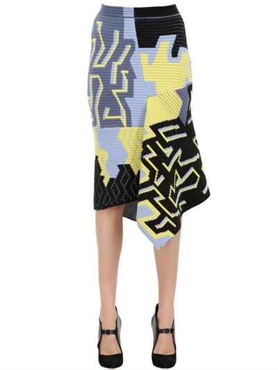 Peter Pilotto Wool Blend Ottoman Jacquard Skirt In Black