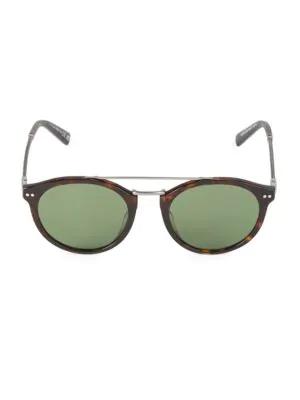 Web Eyewear Men's Round 50mm Tortoise Sunglasses In Blonde Havana