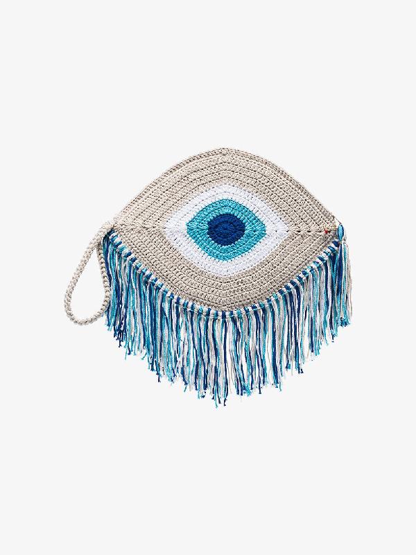 My Beachy Side Blue Tassel Trim Woven Eye Bag