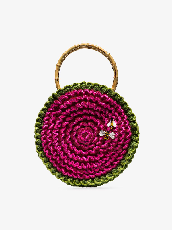 My Beachy Side Knitted Bee Embroidered Bag In Pink
