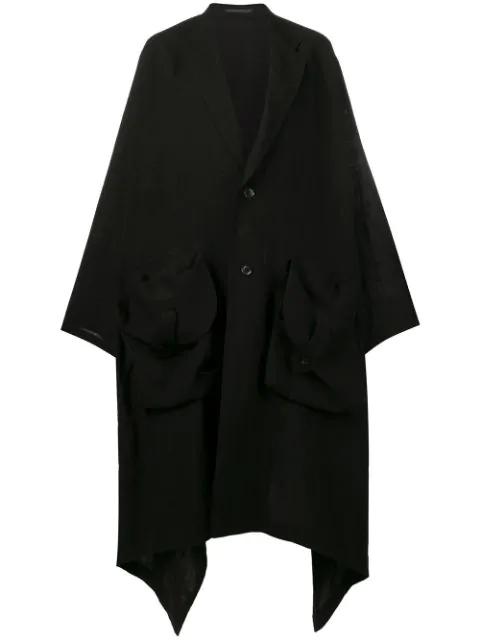 Yohji Yamamoto Oversized Flared Coat - Black