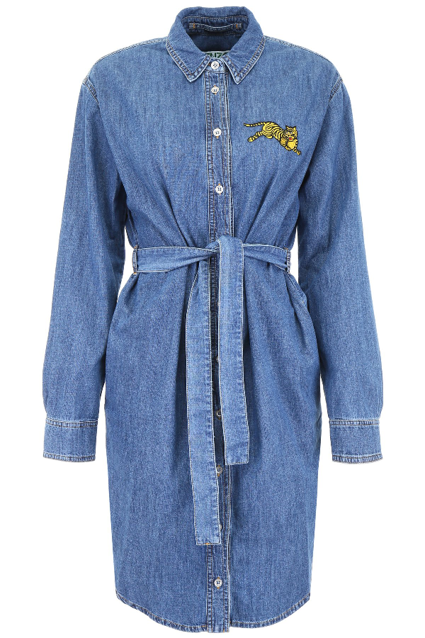 6e5345f1 Kenzo Jumping Tiger Crest Shirt Dress In Blue | ModeSens