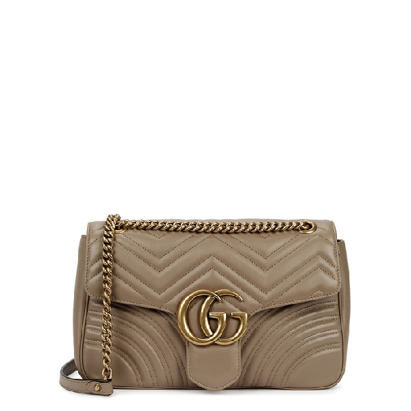 Gucci Gg Marmont Medium Leather Shoulder Bag In Nude