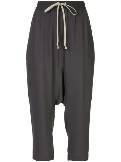 Rick Owens Drawstring Cropped Trousers In Grey