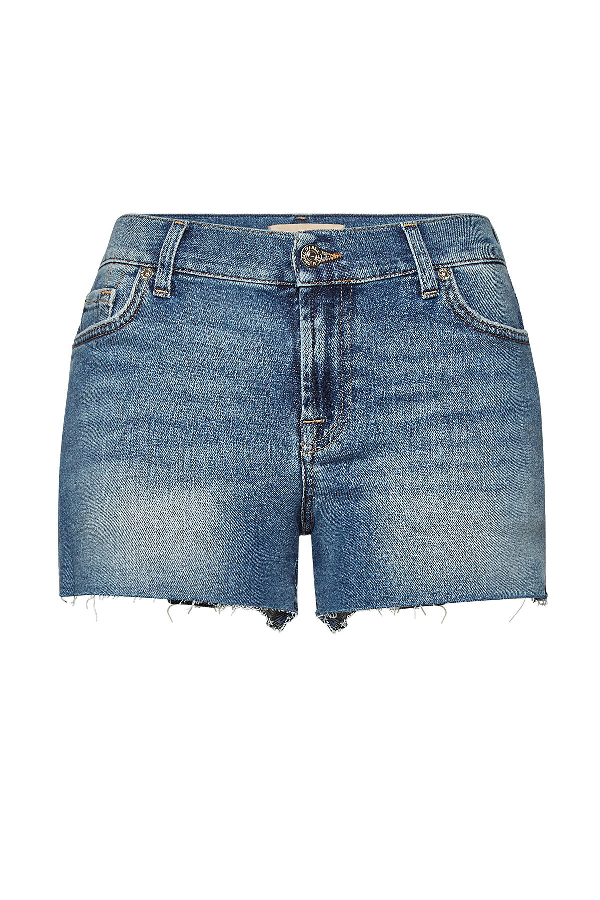 7 For All Mankind Distressed Denim Shorts In Blue