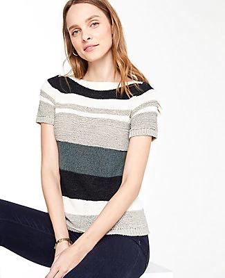 Ann Taylor Petite Textured Stripe Short Sleeve Sweater In Black