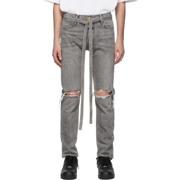 Fear Of God Straight-Leg Tapered Belted Distressed Selvedge Denim Jeans In 031Gdgrydnm