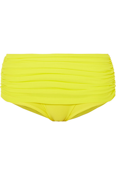 Norma Kamali Bill Ruched Bikini Briefs In Bright Yellow