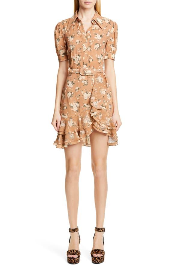 Michael Kors Belted Ruffled Floral-Print Silk-Georgette Mini Dress In Tan