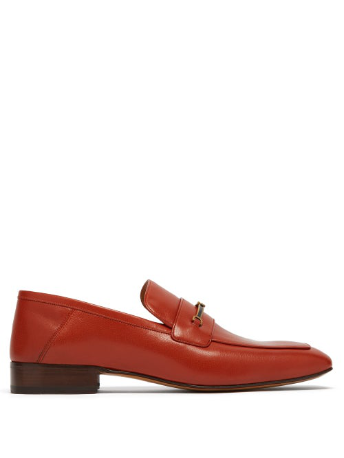 Gucci Leather Loafer With Horsebit And DoubleG In Orange