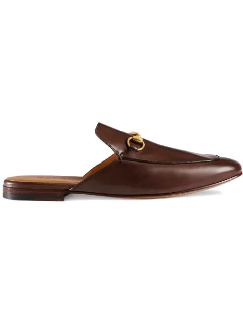 Gucci Princetown Leather Horsebit Mule Slipper Flats In Brown