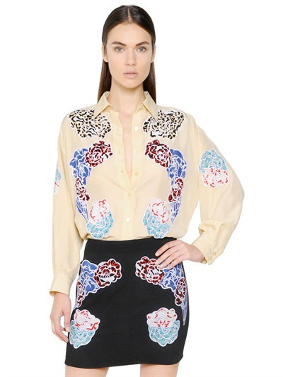 Stella Mccartney Embroidered Parachute Silk Shirt In Ivory