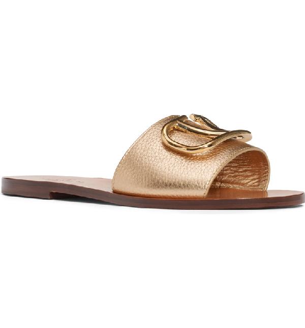 Valentino Brooch Slide Sandal In Gold