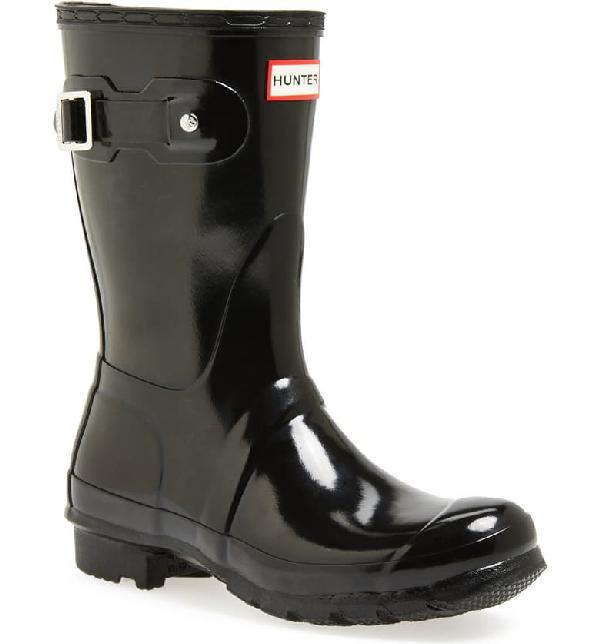 Hunter Original Short Adjustable Back Gloss Waterproof Rain Boot In Black
