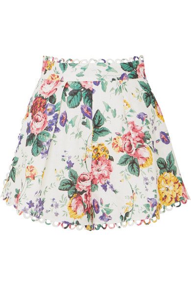 Zimmermann Allia High-Waist Floral-Print Linen Shorts In White