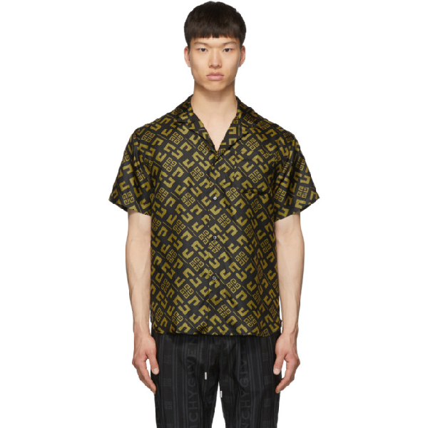 Givenchy Logo-Print Silk-Faille Bowling Shirt In 770Blkgold