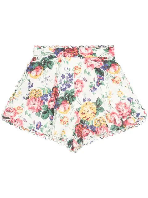 Zimmermann Allia High Rise Floral Print Linen Shorts In White