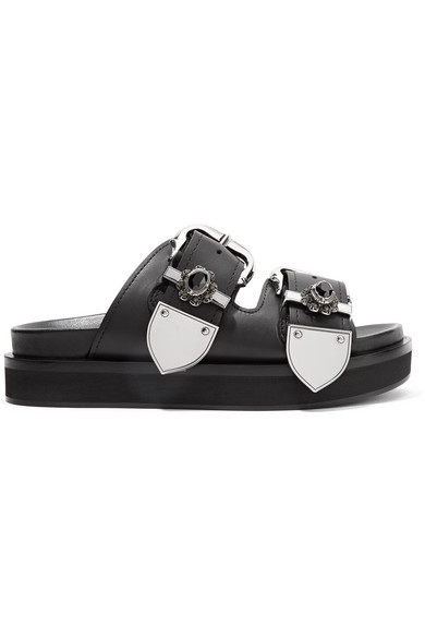 Alexander Mcqueen Embellished Leather Slides In Black