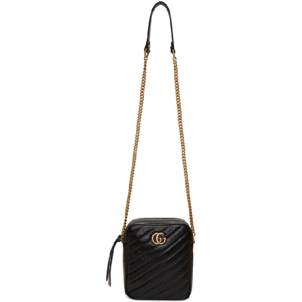 ba15de3cc91f9f Gucci Gg Marmont Tall Chevron Leather Crossbody Bag In 1000 Black ...